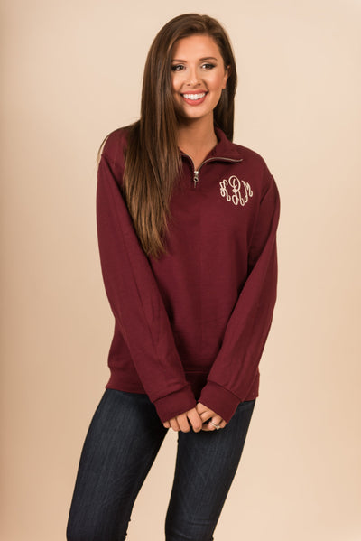 Keeping Warm Pullover, Maroon
