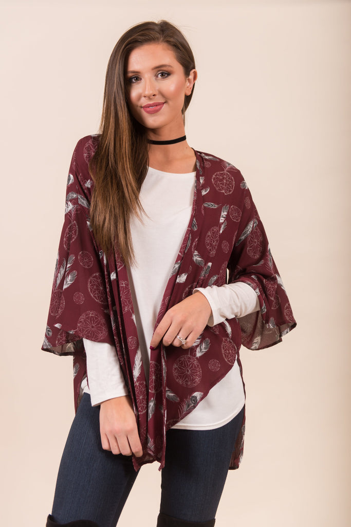 Catcher Of Dreams Kimono, Burgundy