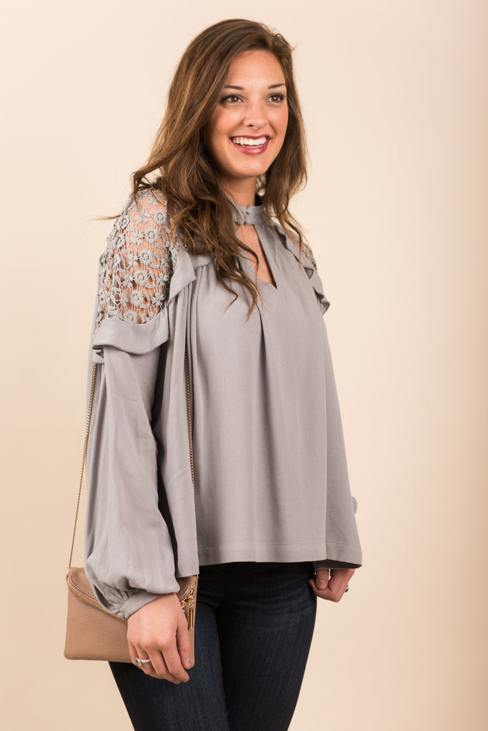 Lead To Love Top, Light Gray