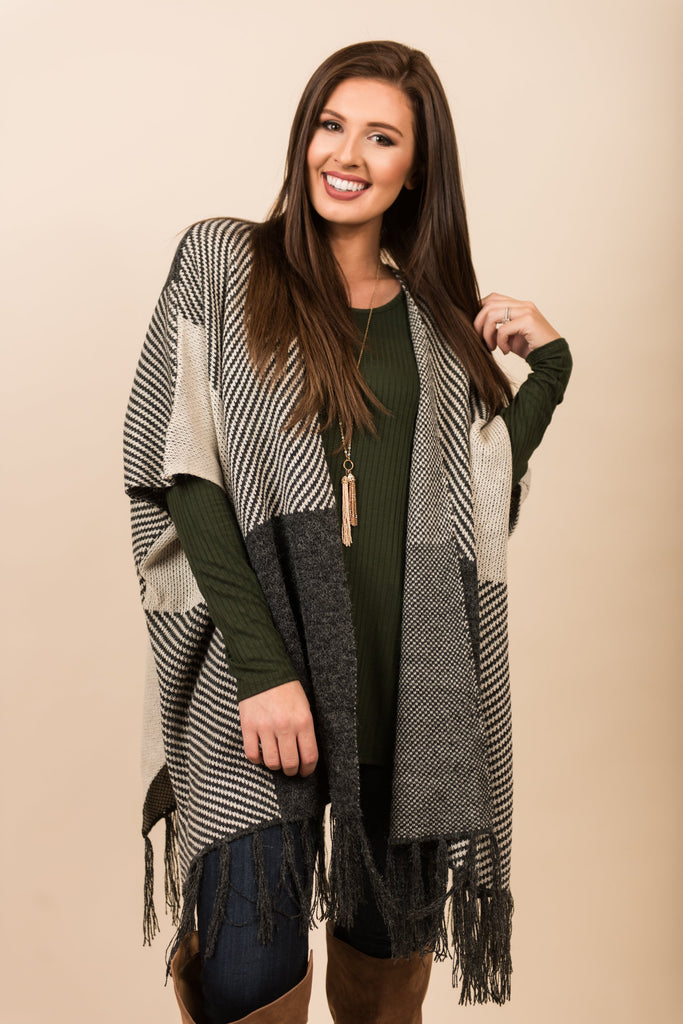 Going Global Open Poncho, Charcoal