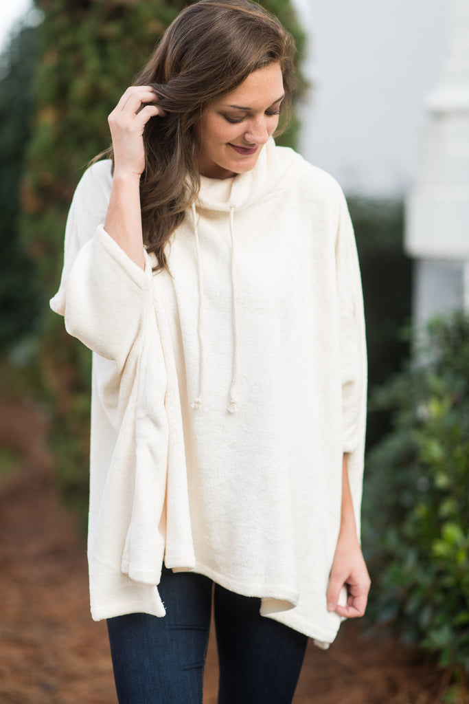 Here For The Cozy Poncho, Cream