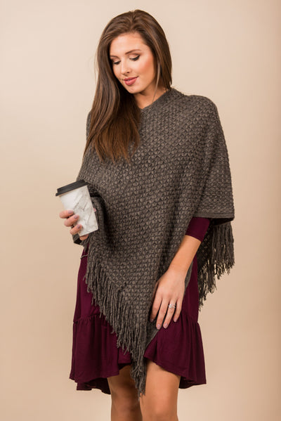 By The Fire Poncho, Charcoal