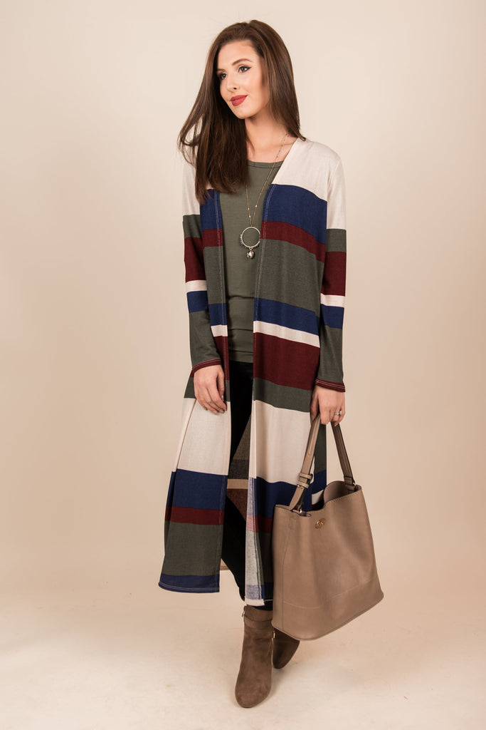 Chosen To Lead Duster Cardigan, Olive