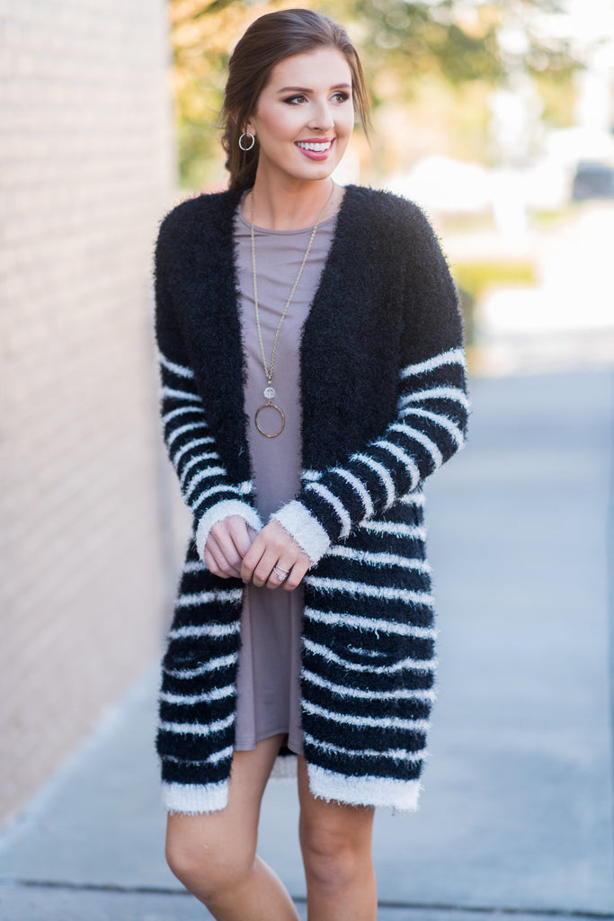 The Facts Are Fuzzy Cardigan, Black-White
