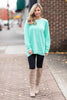 Slouchy Dolman Mint Green Long Sleeve Tunic