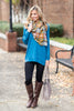 Slouchy Dolman Teal Blue Long Sleeve Tunic