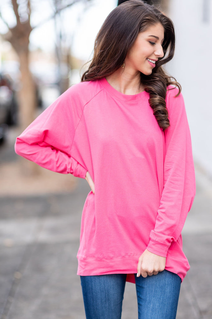 Slouchy Dolman Pink Long Sleeve Tunic