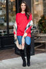 Slouchy Dolman Red Long Sleeve Tunic