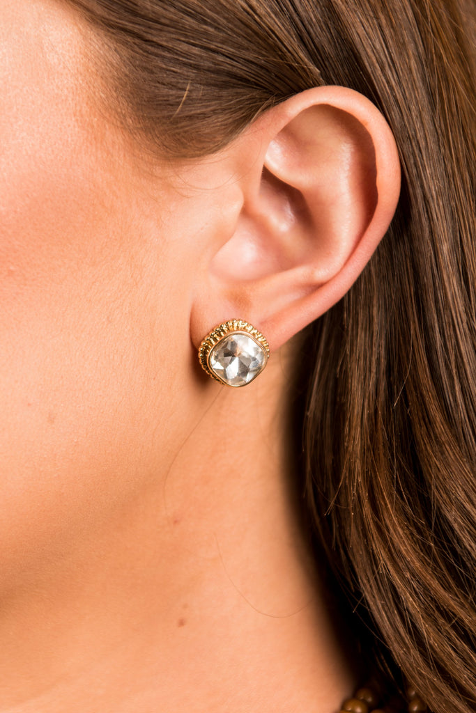 True Classics Stud Earrings, Clear