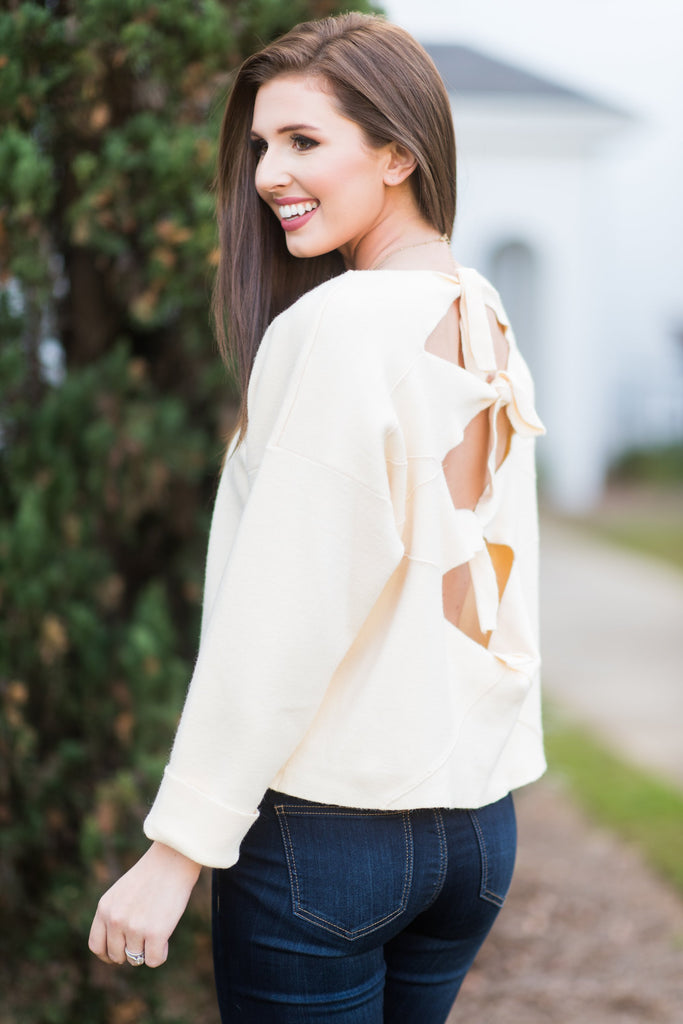 Coming Back For Bows Sweater, Cream