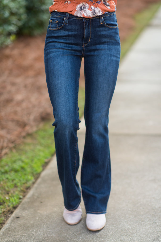 Let's Get Going Boot Cut Jeans, Dark Denim