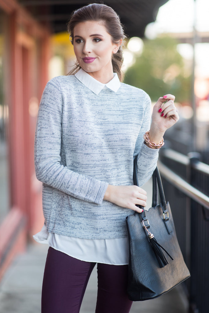 Prepster Pretty Top, Heather Gray