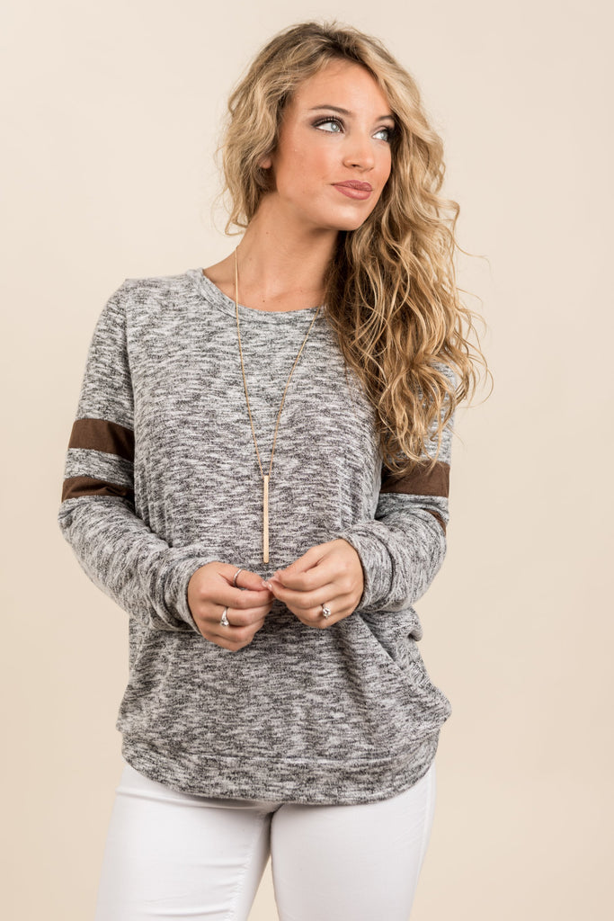 All Day Casual Top, Heather Gray