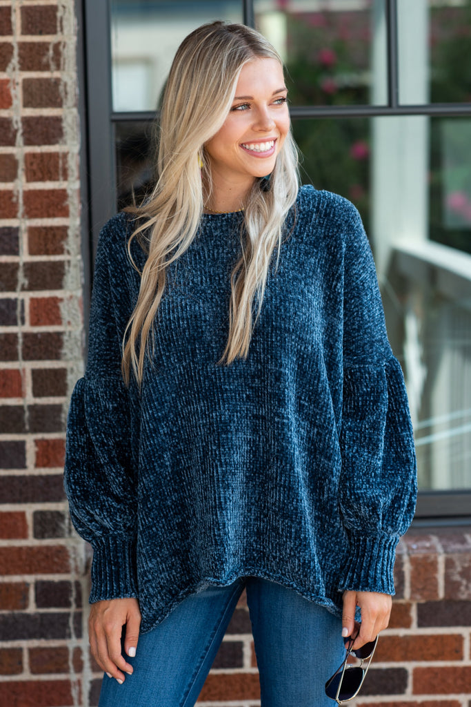 You Belong Right Here Sweater, Dusty Teal