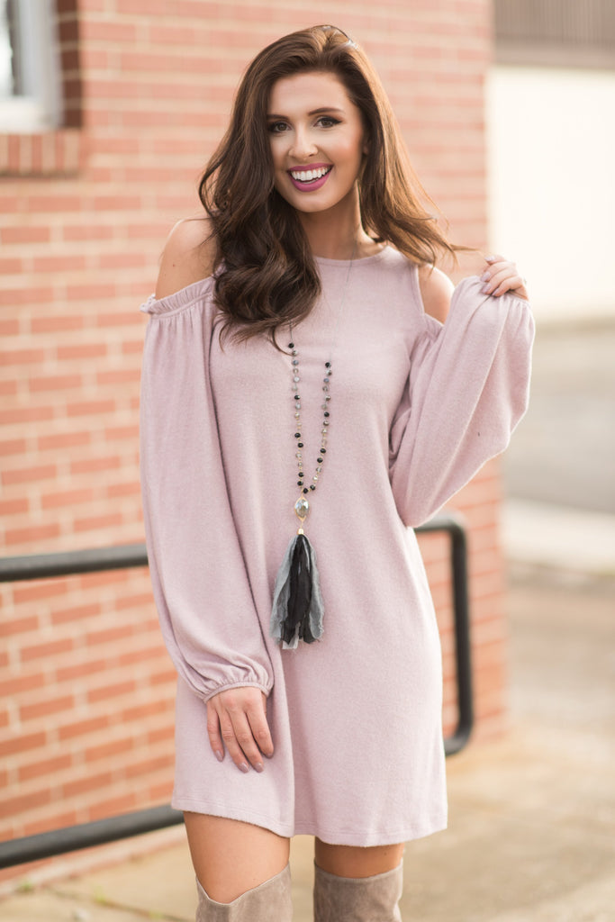 Ruffled Reality Dress, Blush