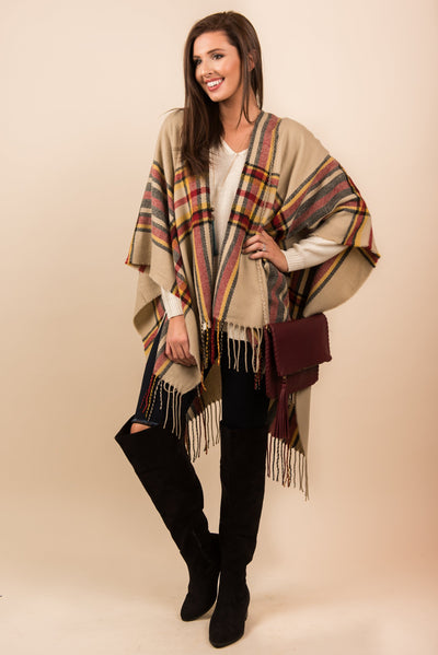 Yours To Keep Open Poncho, Taupe-Red