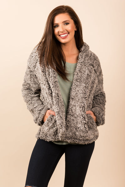 Fuzzy Fun Jacket, Gray