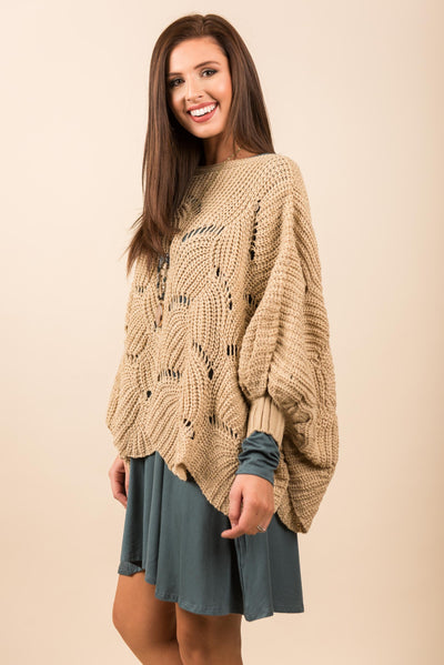 Committed To Cozy Poncho, Beige