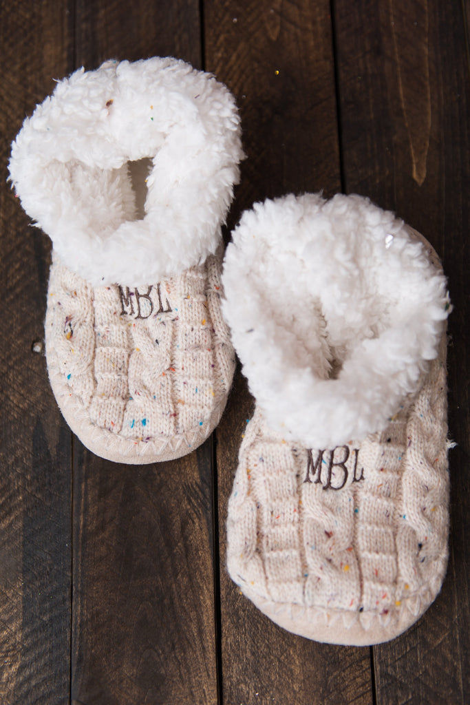 Happy To Be Home Slipper Booties, Oatmeal