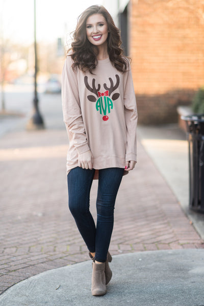 Reindeer Fun Tunic, Warm Taupe