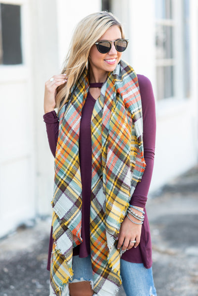 Looking Fab In Plaid Scarf, Tan