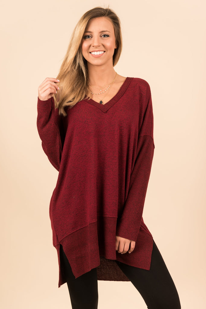 Too Comfy To Care Top, Burgundy