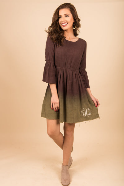 Looking Fab Dress, Brown-Olive