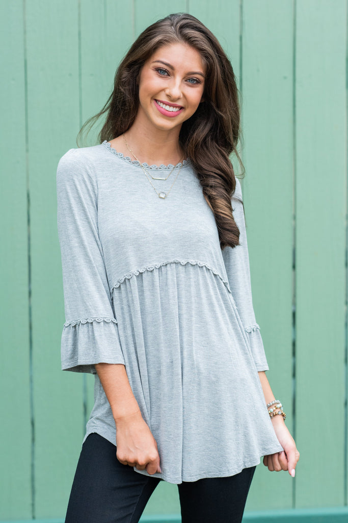 Flower Child Top, Gray