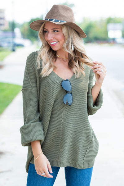 Winter Travels Sweater, Olive