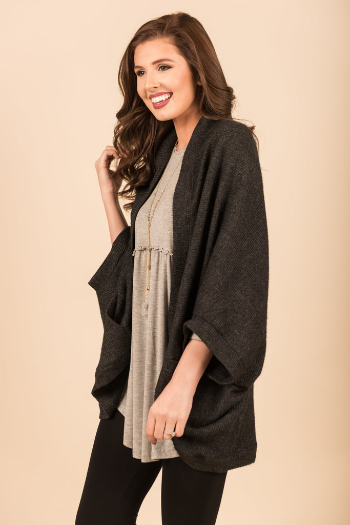 Care To Be Comfy Cardigan, Charcoal