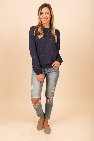 Queen Of Hearts Sweatshirt, Navy