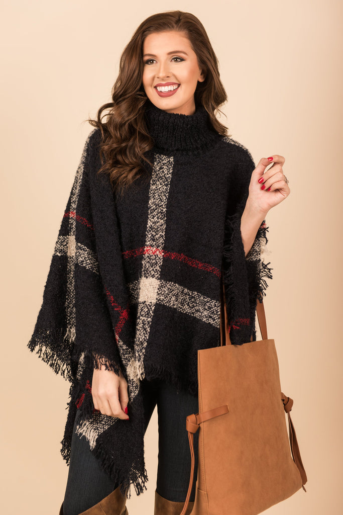Timeless Love Poncho, Navy