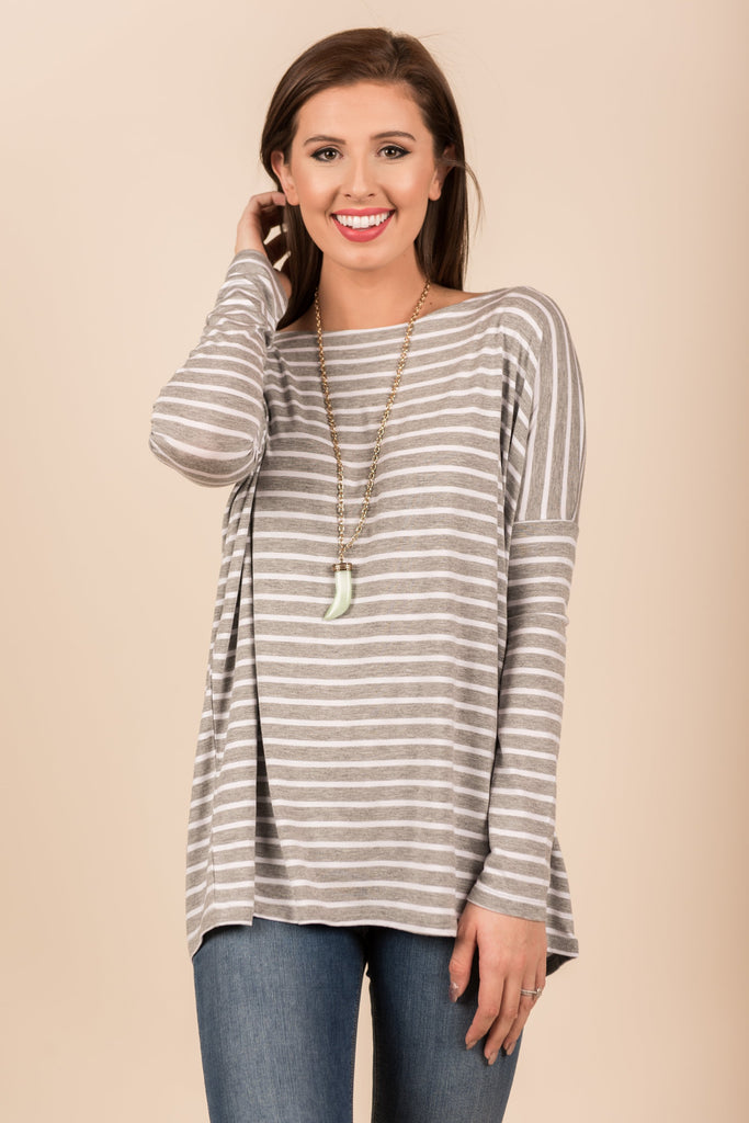 Jump In Line Piko Top, Heather Gray-White