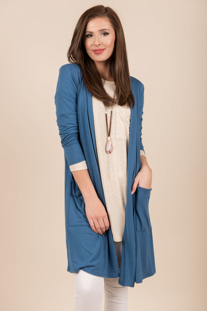 Treat You Right Cardigan, Blue Mist