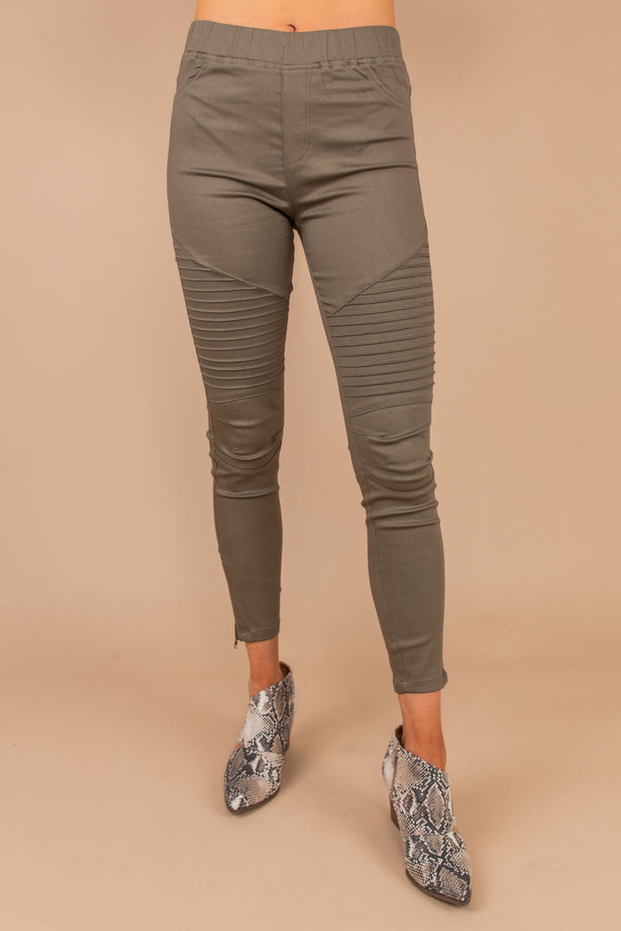 jeggings, moto detailing, elastic waistband, back pockets, ankle zip detail, olive, edgy, moto jeggings, comfy