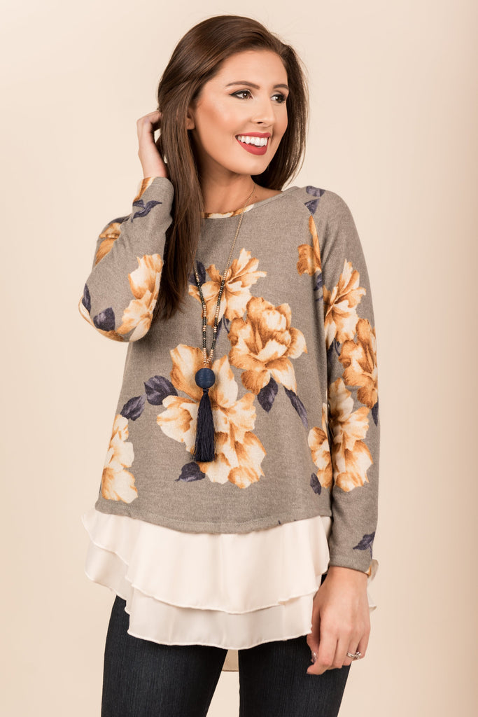 Layered Blooms Top, Gray