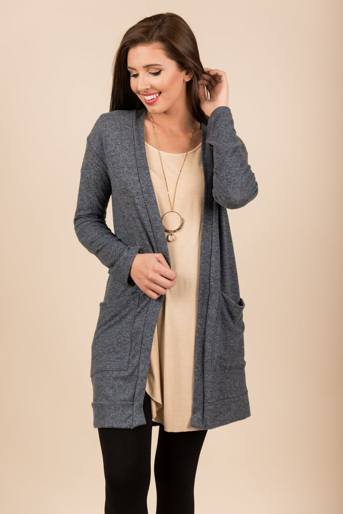 The Luxe Pocket Cardigan, Slate Blue