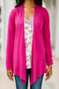 soft stretch fabric, cardigan, magenta, magenta cardigan, long sleeves
