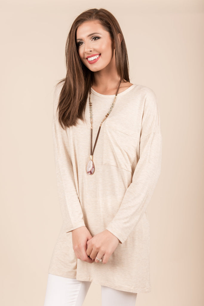 Know You So Well Tunic, Heather Beige