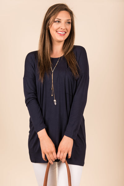 Know You So Well Tunic, Navy