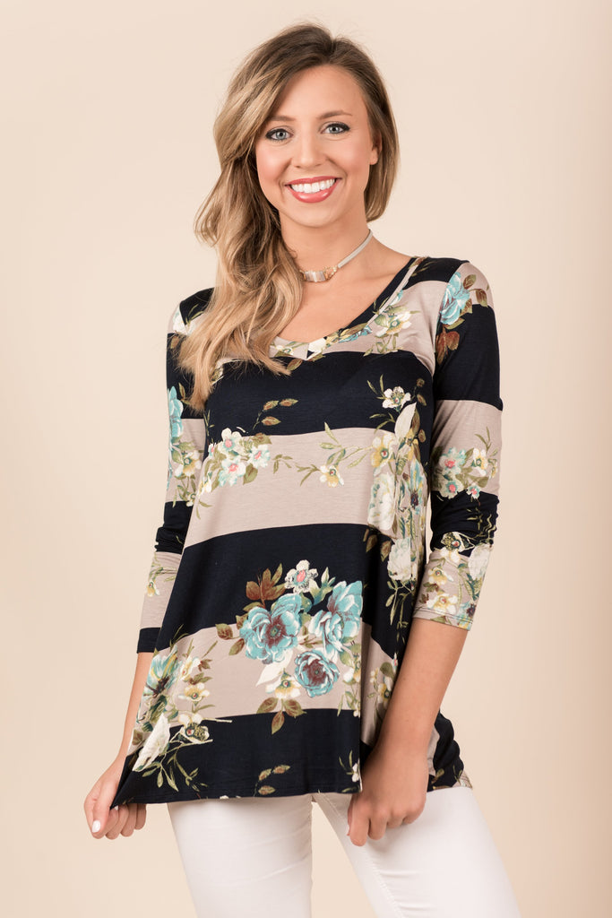 Just You And Me Top, Navy-Taupe