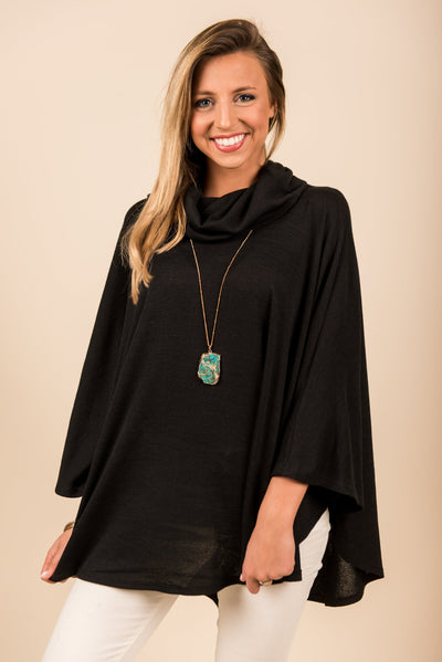 Feeling Serene Poncho, Black
