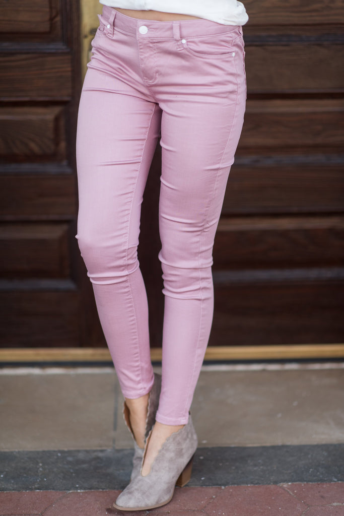In The Know Skinny Jeans, Dusty Pink