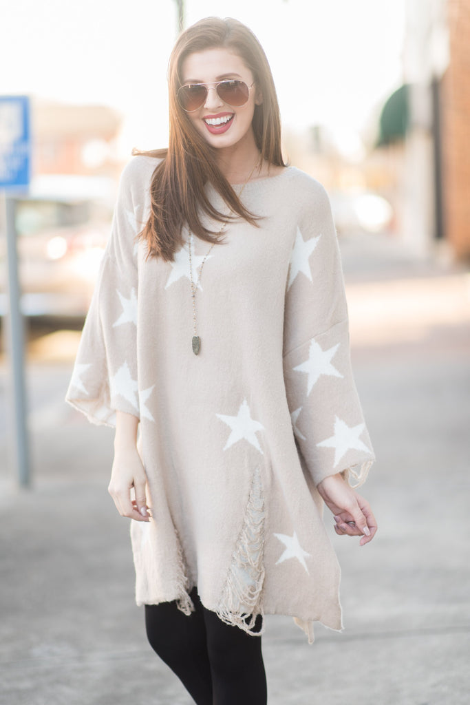 Seeing Stars Sweater, Taupe