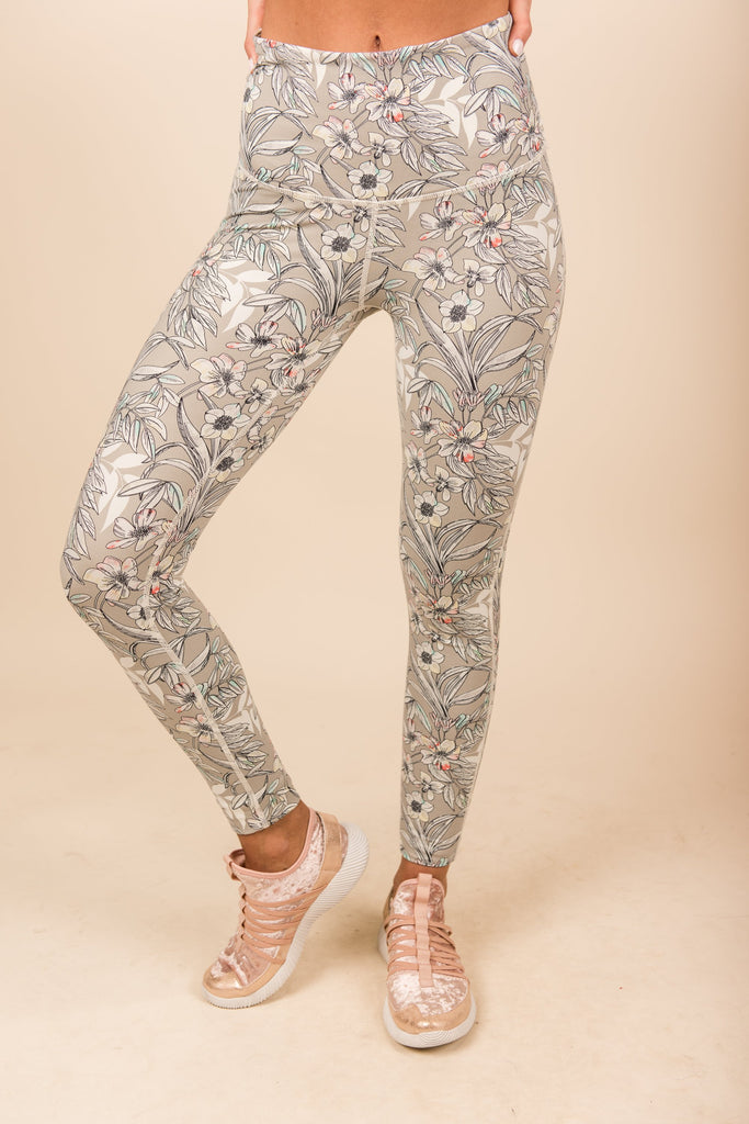 Blooming Beauty Leggings, Light Gray