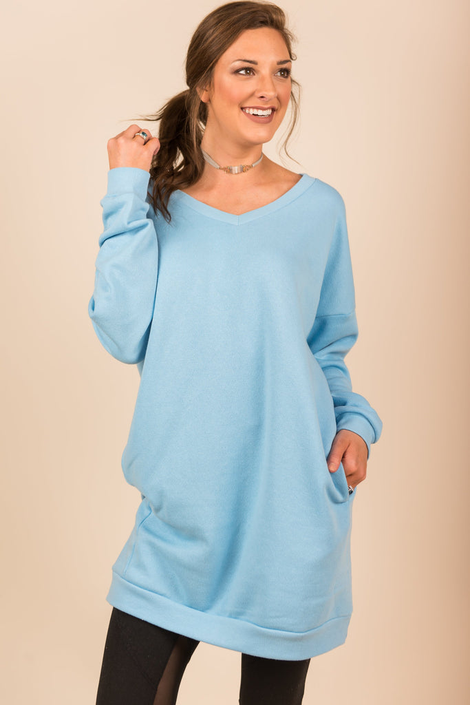 Let's Cuddle Tunic, Ash Blue