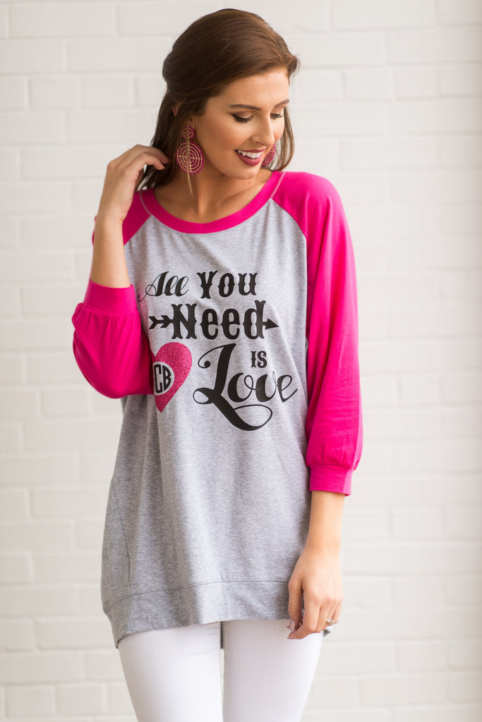 All You Need Is Love Raglan Tunic, Gray-Fuchsia