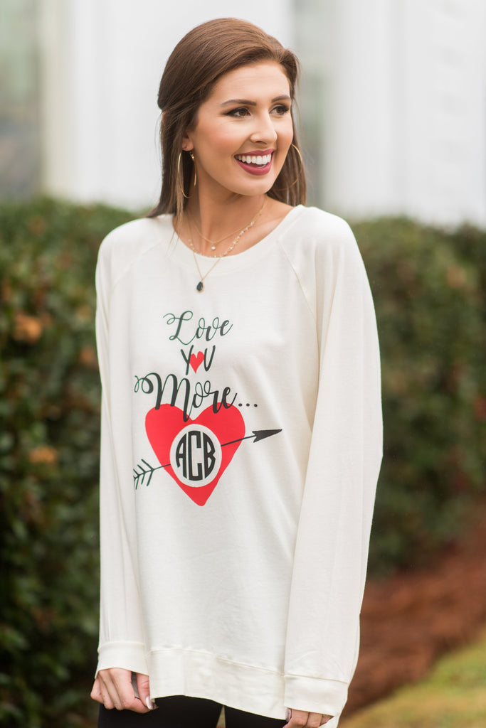 Love You More Ivory White Graphic Tunic