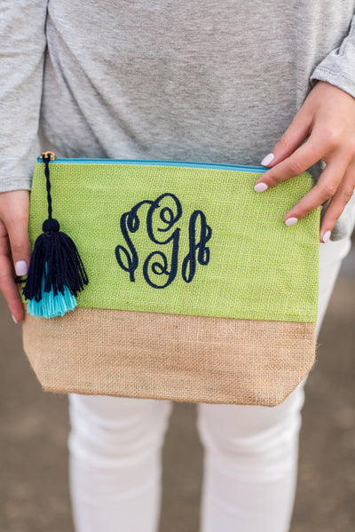 Mud Pie: Color Pop Jute Case, Lime Green