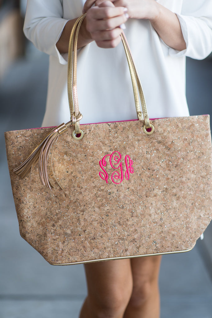 Mud Pie: Carlton Cork Tote, Gold
